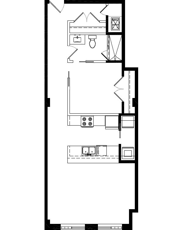 plan 777 sqft 1BR-1BA
