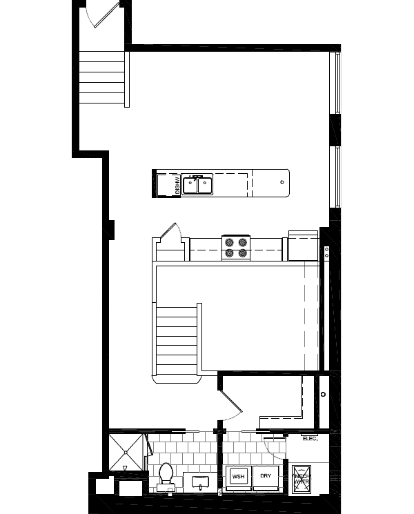 plan 912sqft 1BR-1BA